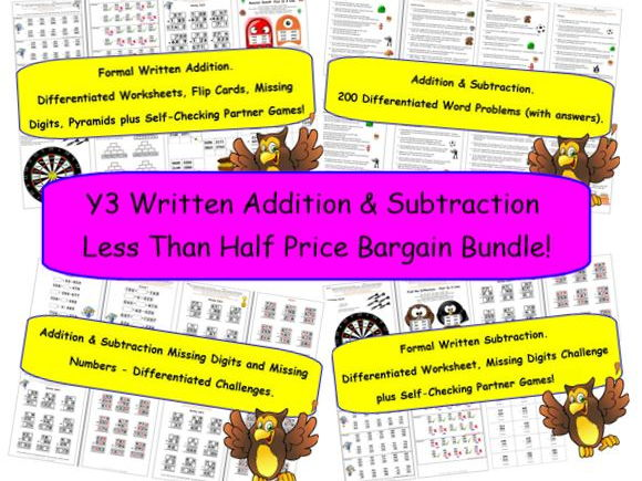Y3 Written Addition & Subtraction Less Than Half Price Bargain Bundle