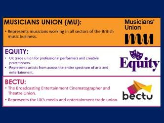 BTEC Music: Unions and Hire & Transport Companies