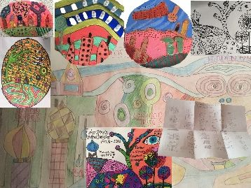 Hundertwasser symbols/elements, interpretation with easy tasks and examples of clay outcome
