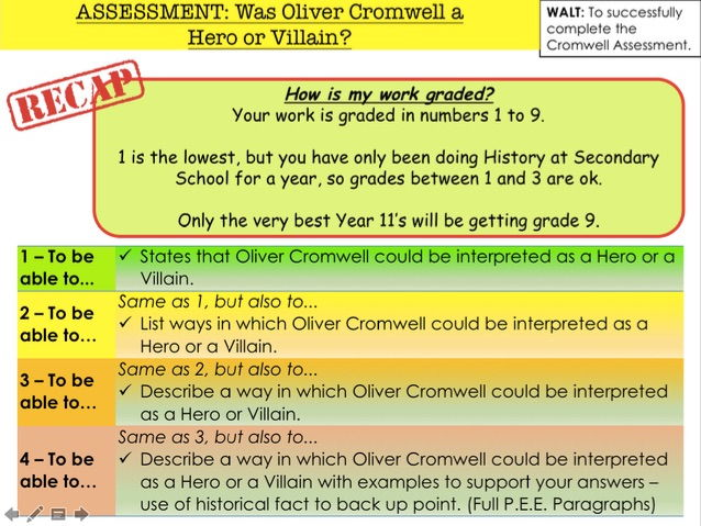 English Civil War ASSESSMENT: Was Oliver Cromwell a  Hero or Villain?