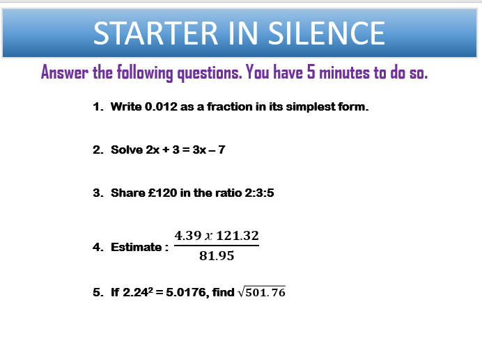 KS3 Maths Starters