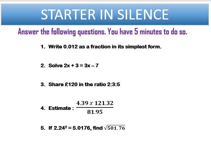 GCSE(9-1) Maths Starters - KS3/GCSE Foundation