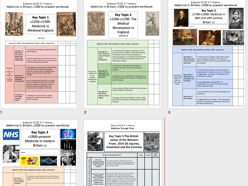 Exdexcel 9-1 Medicine Through Time Workbook KT1-4 and WW1
