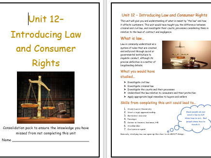 Unit 12 - Introducing Law and Consumer Rights wordbook