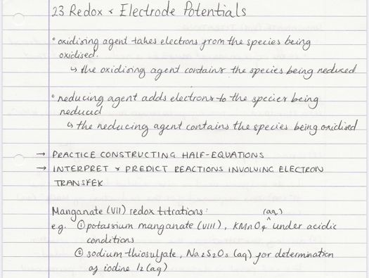 OCR A A-level Chemistry: Redox & Electrode Potentials