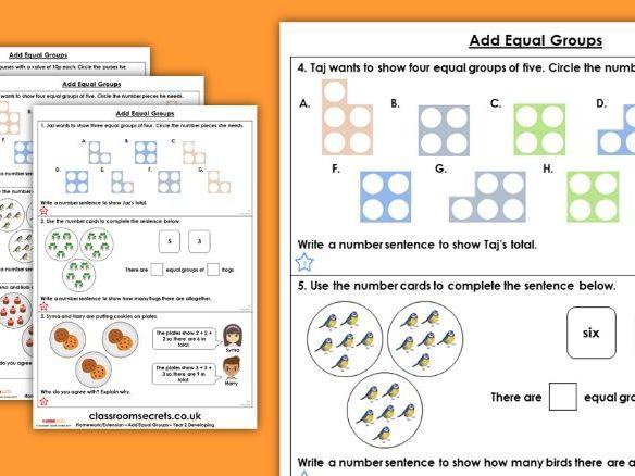 Year 2 Add Equal Groups Autumn Block 4 Maths Homework Extension