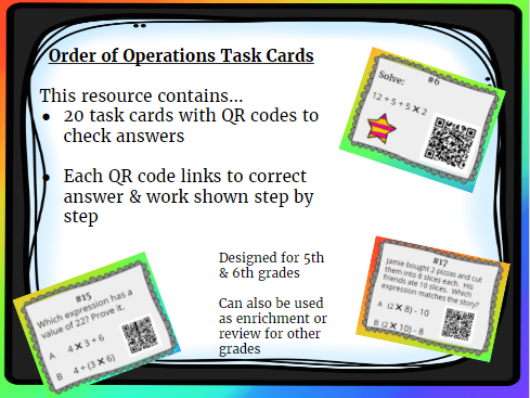 20 Order of Operation- Simplifying Expressions Task Cards With QR Codes & Work