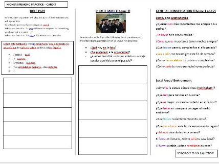 Spanish AQA GCSE speaking exam revision (Higher -CARD 3)