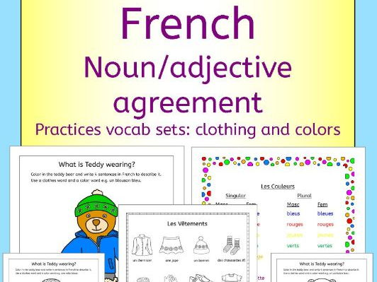 French Clothing And Colors Noun Adjective Agreement Practice By