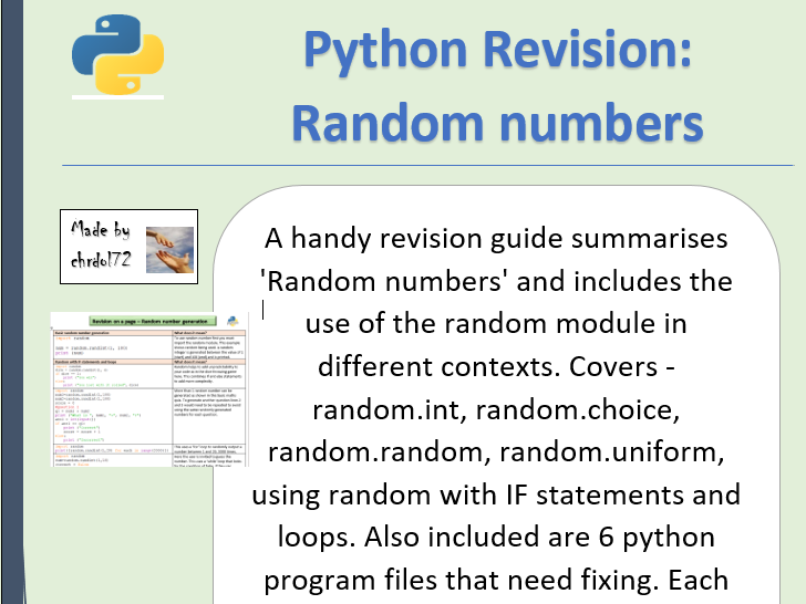 Python revision and activities - Random numbers