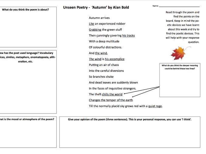 GCSE/KS3 Unseen Poetry analysis A3 worksheet
