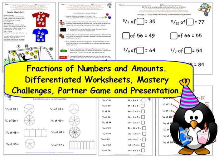 Y4 Y5 Fractions of a set of objects, numbers & amounts - differentiated challenges & presentation.