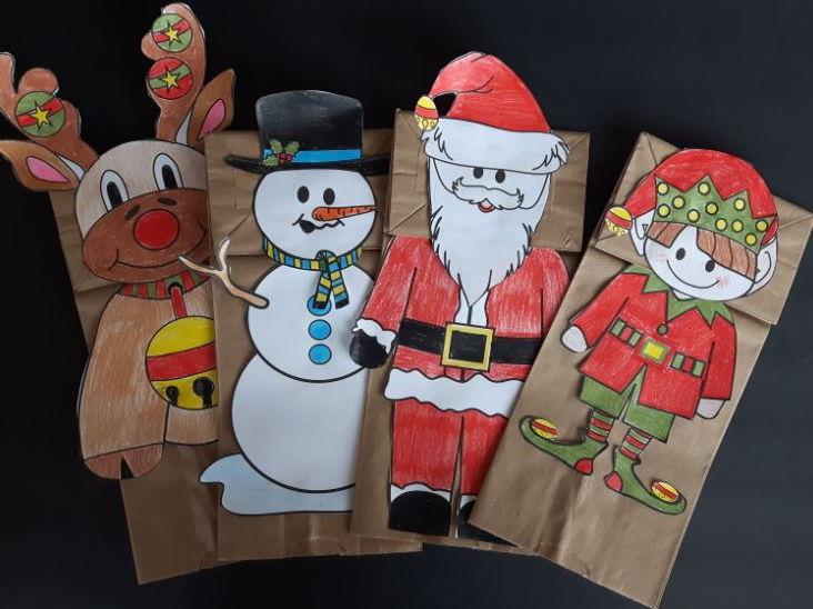 Christmas Paper Bag Puppets