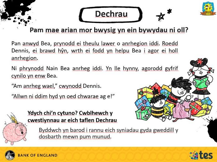 Lesson 8 Money and me - Why is money so important? (Welsh curriculum & language)
