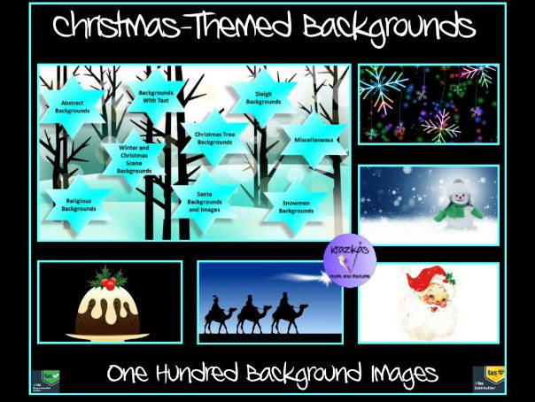 Christmas-Themed Backgrounds For PowerPoints and Christmas Activities - One Hundred Slides