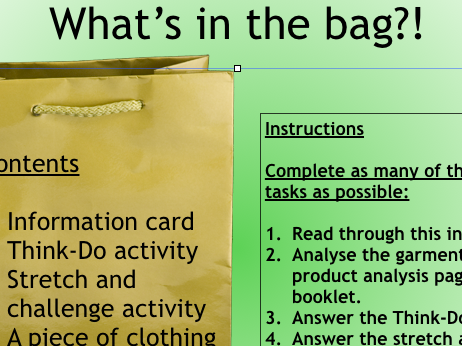 Fibre to fabric product analysis-lesson in a bag