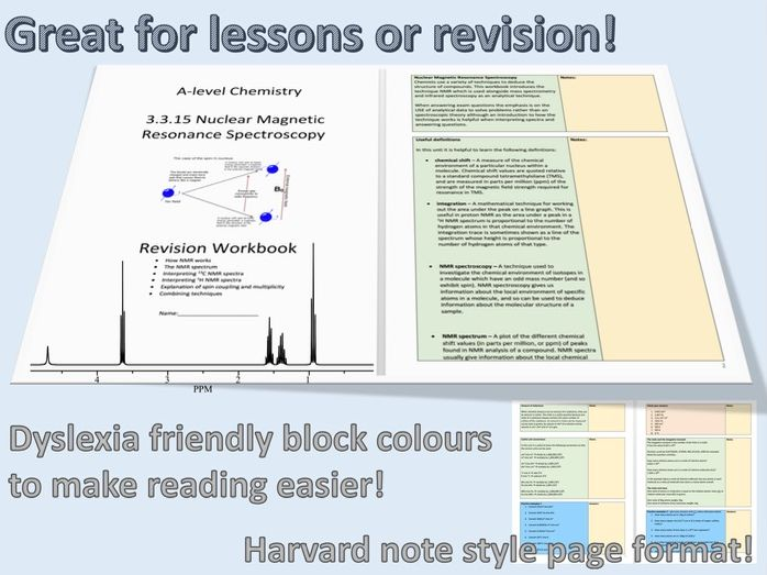 AQA A-level Chemistry 3.3.15 NMR - Nuclear Magnetic Resonance - Full Unit Workbook with Answers