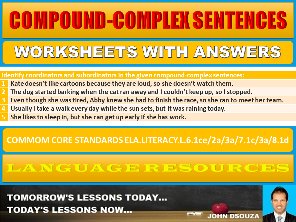 COMPOUND-COMPLEX SENTENCES WORKSHEETS WITH ANSWERS
