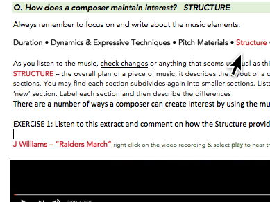 HSC Music 1 'Focus on the Question' - Structure