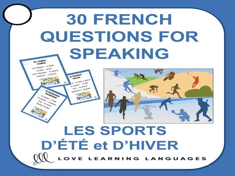 30 French Speaking Prompts -Les sports d'hiver et d'été-French Sports Vocabulary