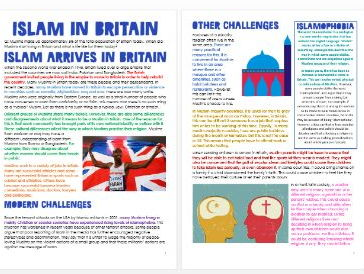 Islam: Islam in Britain: Differentiated Information and Activity Sheets