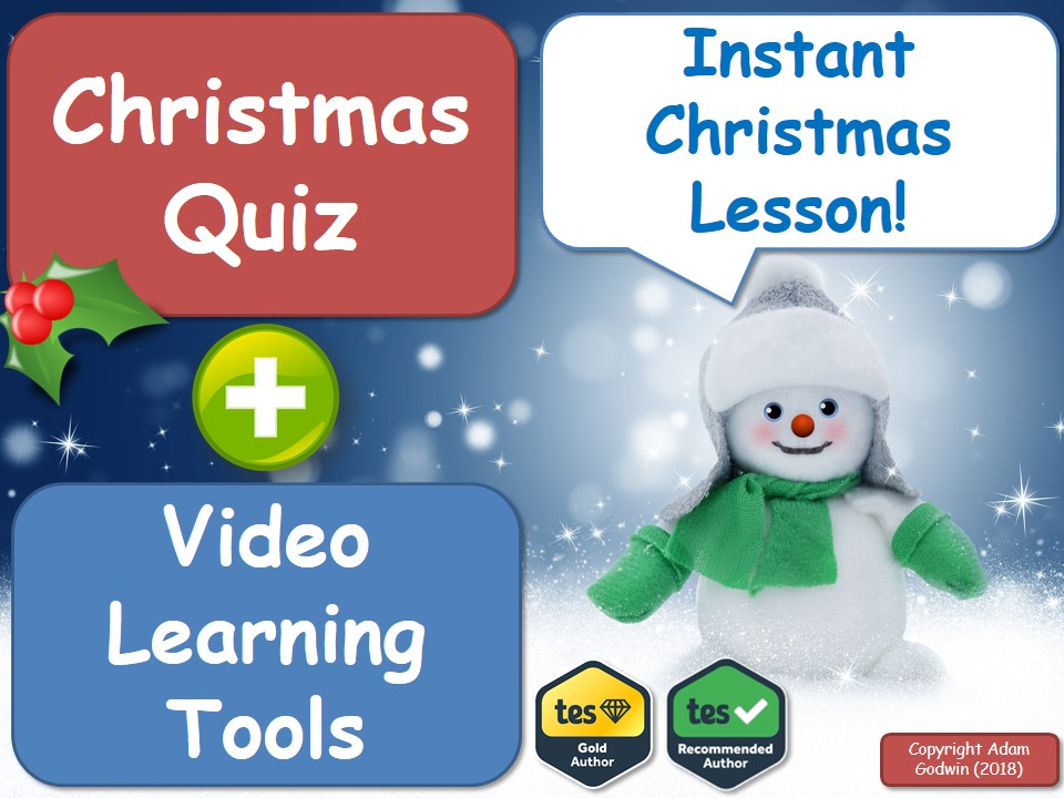 The English Language & Literacy Christmas Quiz & Christmas Video Learning Pack! [Instant Christmas Lesson]