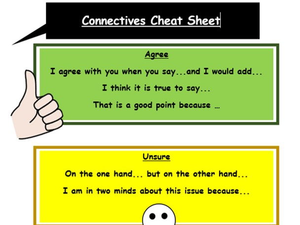 Literacy connectives cheat sheet
