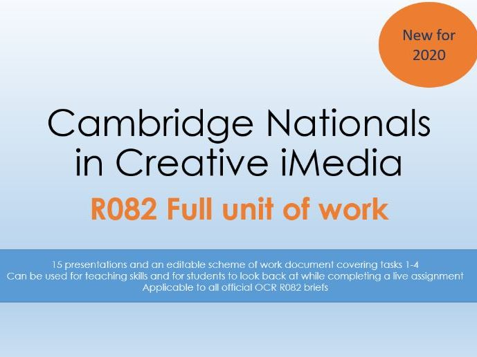 OCR Creative iMedia R082 Unit of Work (15 presentations and scheme of work)