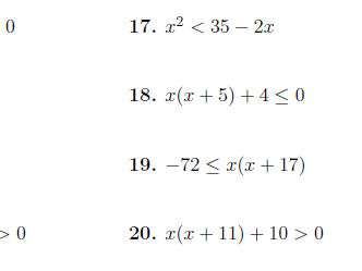 Quadratic inequalities worksheet (with detailed solutions)