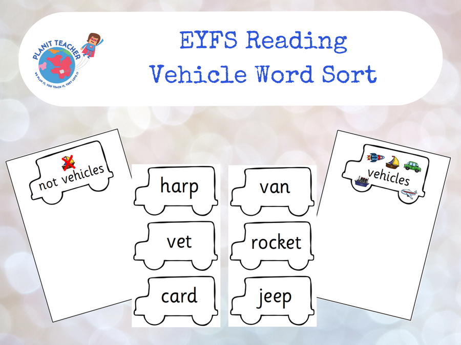 Vehicle Word Sorting Activity - EYFS Reading - Phase 3 Phonics