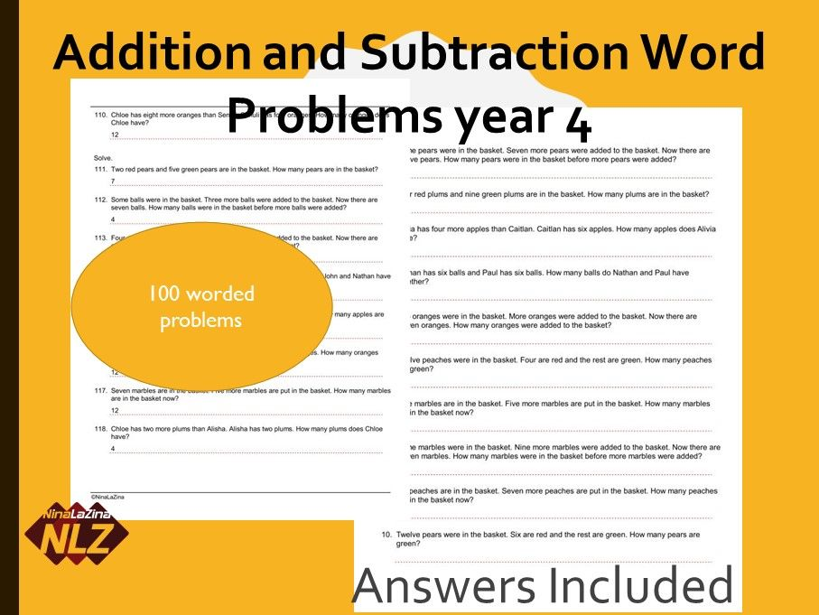addition and subtraction Word Problems with Answers