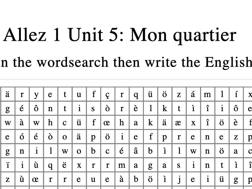 Allez 1 End of unit word search BUNDLE