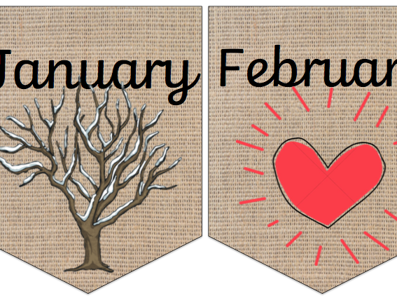 Natural Months Of The Year Bunting