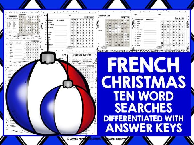 PRIMARY FRENCH CHRISTMAS WORD SEARCHES