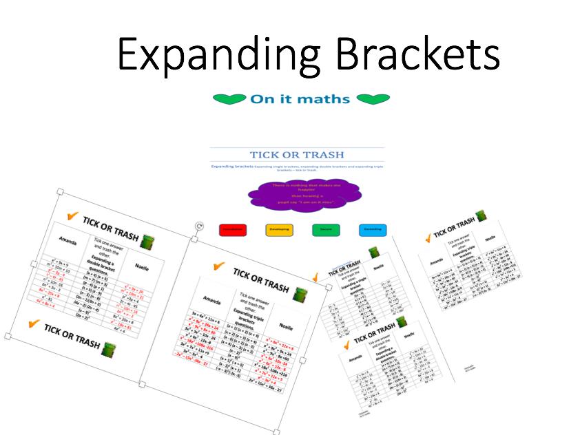 Expanding brackets - Tick or Trash (3 Levels)