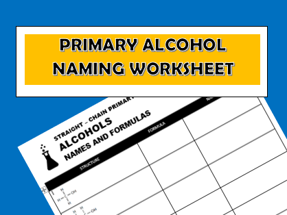 Alcohol Name and Formula Worksheet