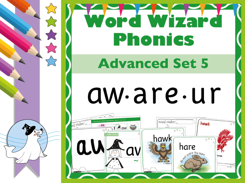 Word Wizard Phonics Advanced Set 5: Vowels aw.are.ur