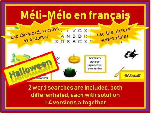 French, en français - Halloween: differentiated word searches
