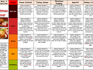 A Christmas Carol KS4 Takeaway Homework Menu