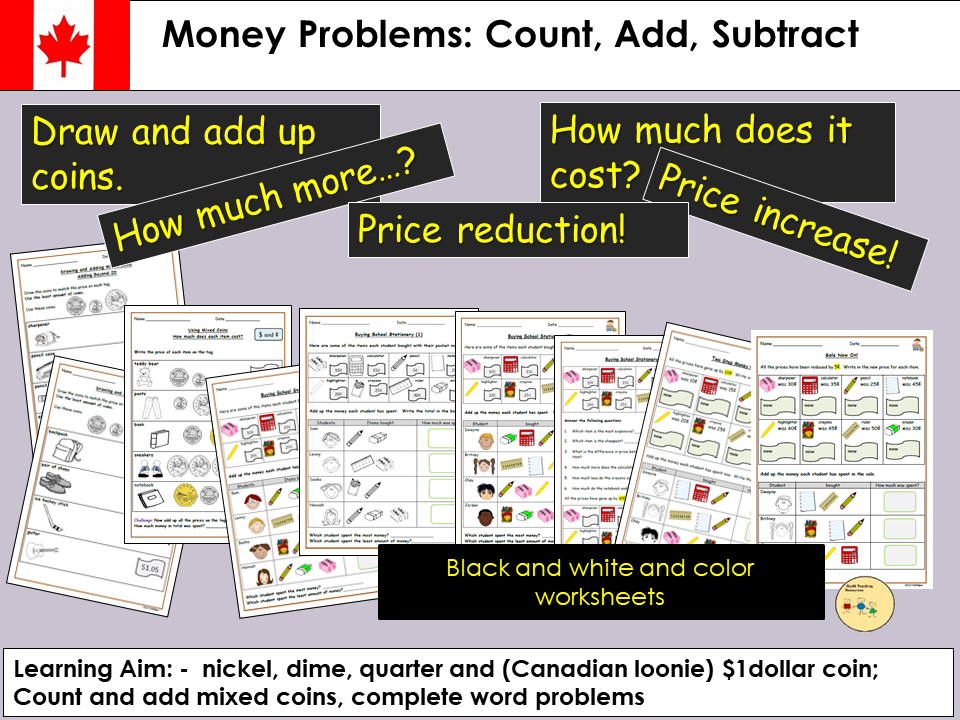 Canadian Money Problems Count Add Subtract Worksheets