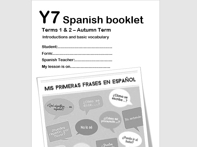 Y7 Spanish Booklet -Term1- Introductions