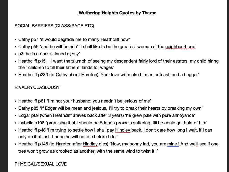 Wuthering Heights Quotes by Theme - AQA A level English