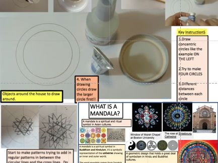 Making a Mandala Drawing showing basic steps and Research into What is a Mandala?