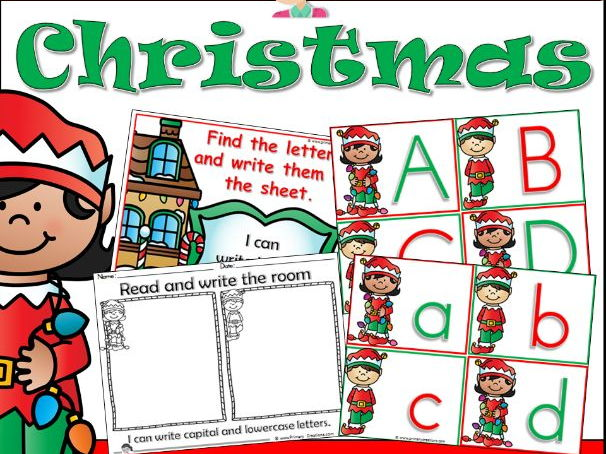 Christmas Literacy Activity Read and Write the Room PreK (USA Edition)