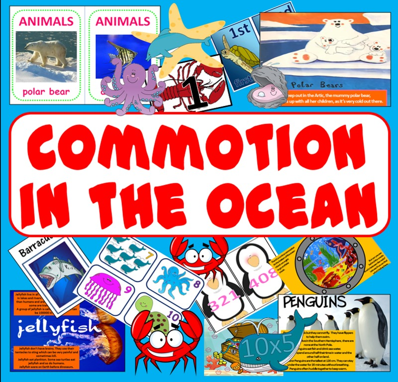 COMMOTION IN THE OCEAN STORY RESOURCES -ANIMALS SEALIFE SEA READING ...
