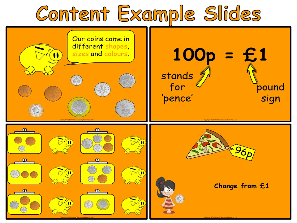 Money - Year 2 Measurement - Animated PowerPoint presentation and worksheets