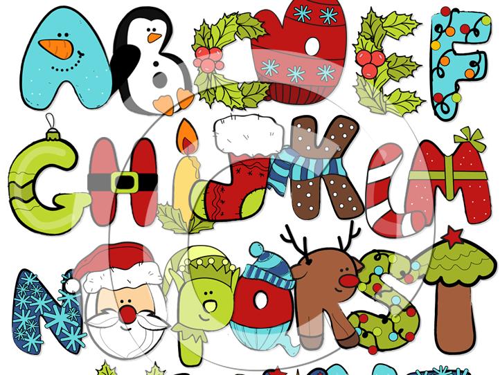 Christmas Alphabet Clip art- Christmas Letters Clip art