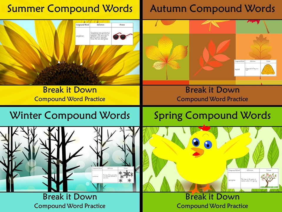 Compound Words Worksheet Four Seasons Themed Words
