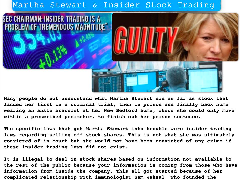 did martha stewart commit the crime of insider trading when she sold her imclone shares on december