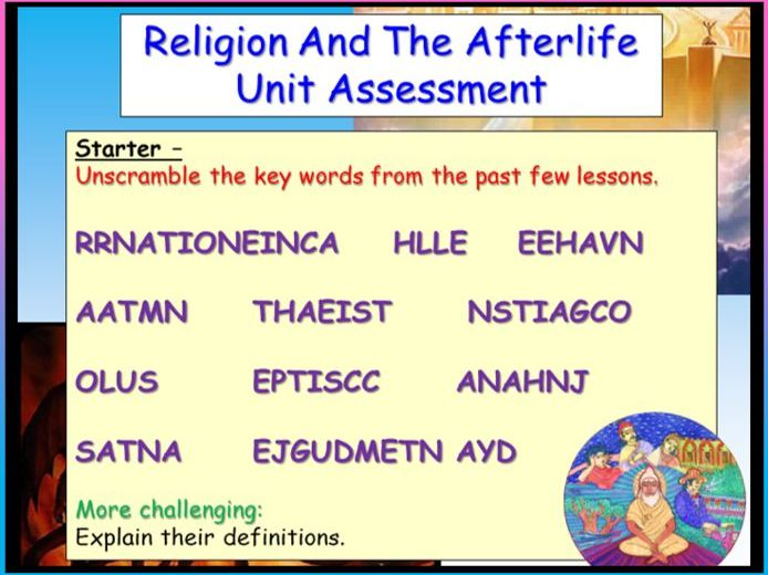 Life After Death RE Assessment